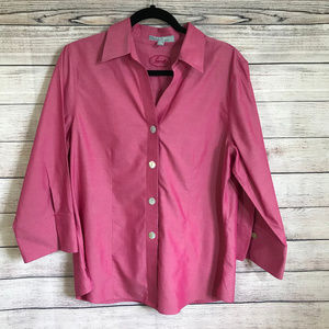 Foxcroft Red Button Down Blouse